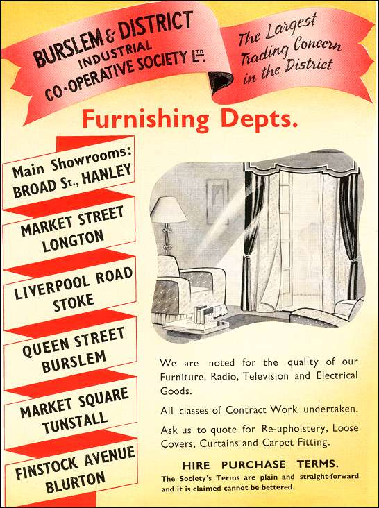 1957 advert for the Burslem and District Industrial Co-Operative Society