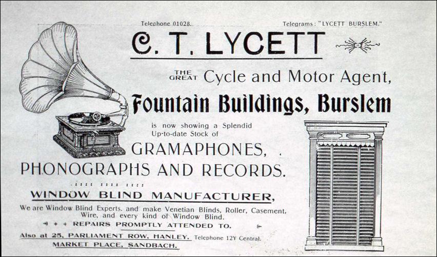 C T Lycett Fountain Buildings Burslem