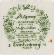 dating ridgways china marks Earthenware manufacturer - formerly ridgway & adderley ltd and booths  standard ridgway mark - used for ware produced at.
