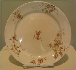Brown ironstone transfer ware plate