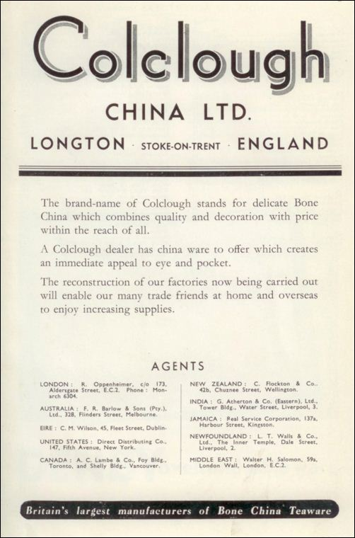 1947 advert for Colclough China Ltd