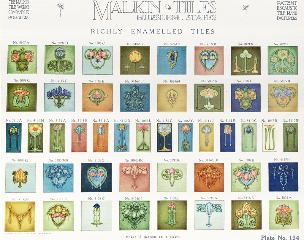 from a 1910 trade catalogue featuring encaustic, mosaic and wall tile designs manufactured by the Malkin Tile Works of Burslem
