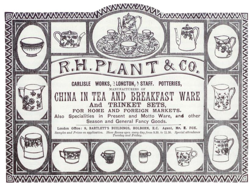 1885 advert for R.H. Plant & Co. at the Carlisle Works, Longton