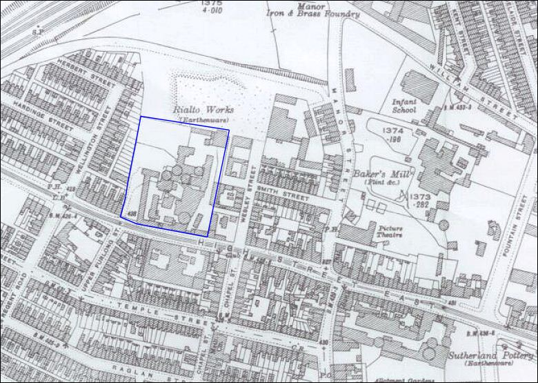 1898 map showing the works of Fand R Pratt & Co, High Street East