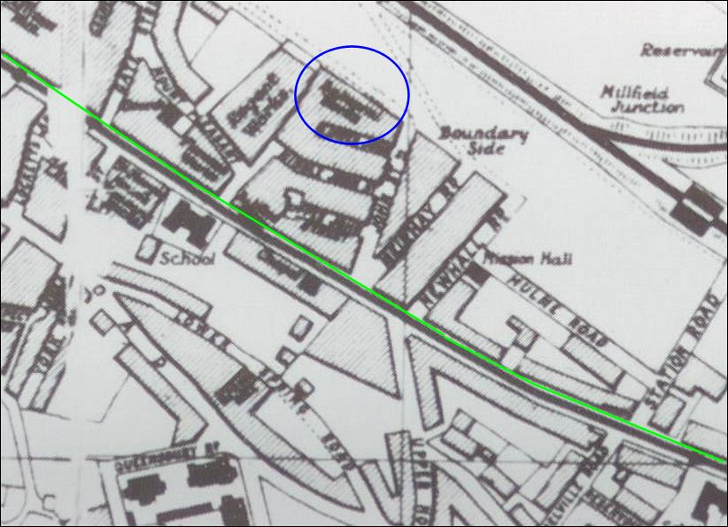 location of the Balmoral Works - Boundary Side (off John Street) on a 1907 map