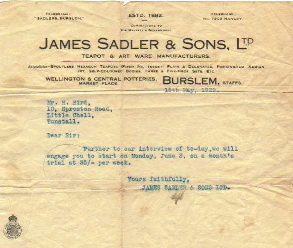 1929 appointment letter for Sadler