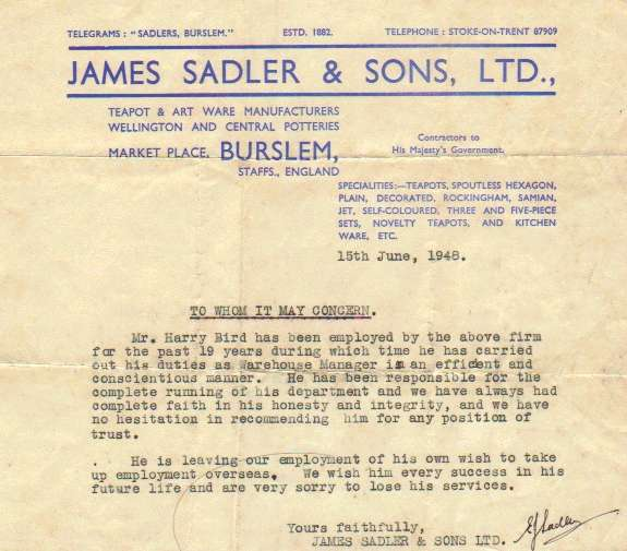1948 reference letter for Sadler
