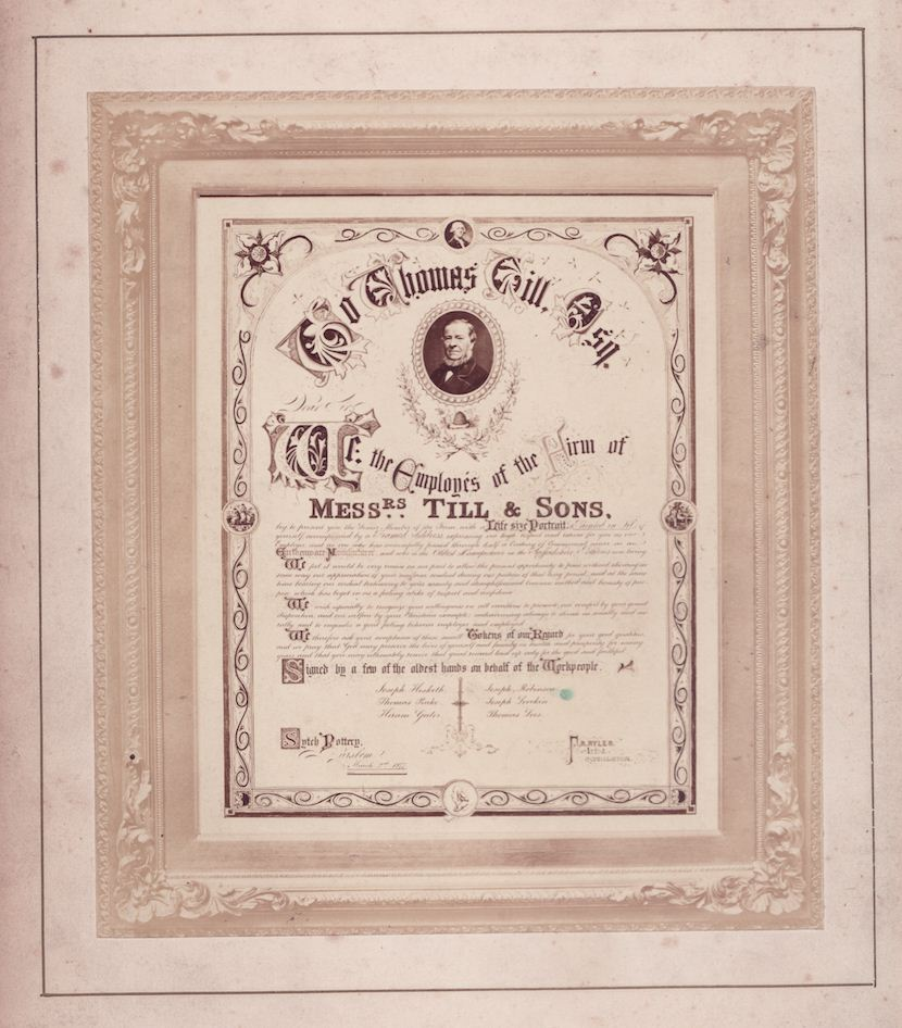 A commemoration of Thomas Till by his workforce - 1877