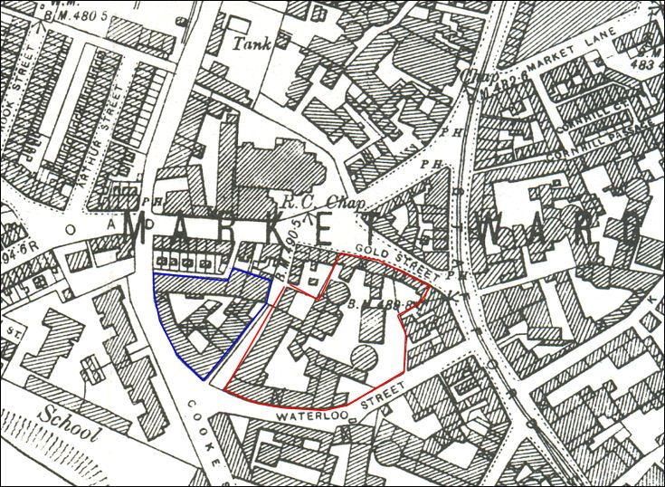 1898 map showing the top of Heathcote Road where it joins Gold Street and Cooke Street