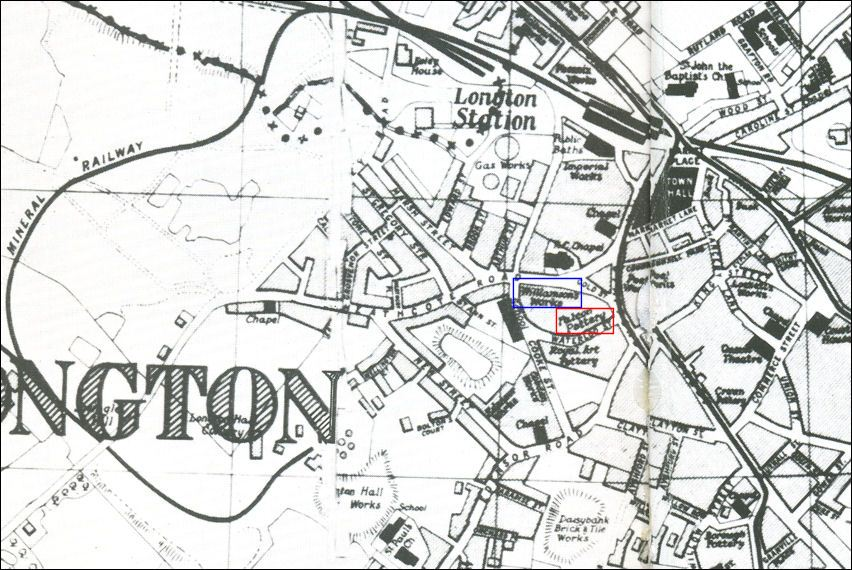 1907 trade map showing the Williamson's works and the adjacent Falcon Pottery works