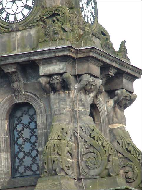 Atlas Figures on the clock tower of the Old Town Hall, Market Place, Burslem