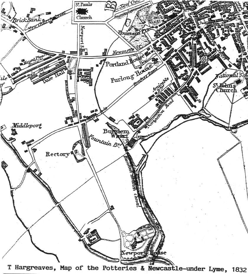 "From: ""T Hargreaves, Map of the Potteries and Newcastle-under-Lyme, 1832"""