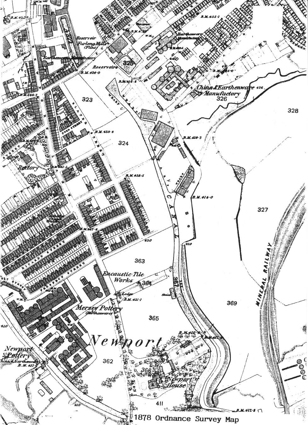 1878 Ordnance Survey Map of the Burslem Branch Canal area
