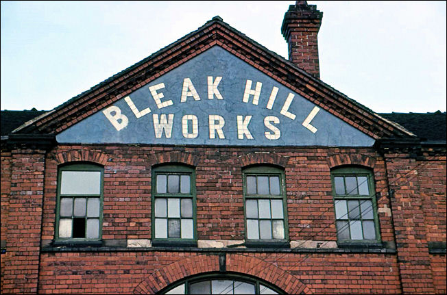 the tiled name on the pediment of the Bleak Hill Works