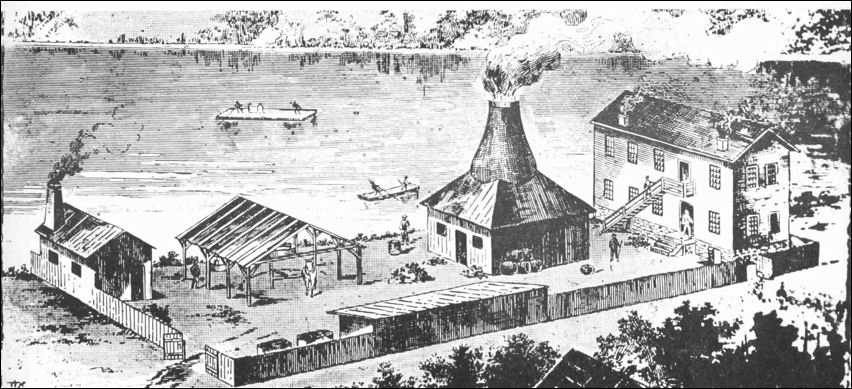 a representation of James Bennett's first kiln which was fired in 1840.