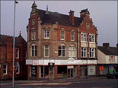 Samuel Coles's (owner of the Falcon Glassworks, Cauldon Place) house & shop in Broad Street, Hanley; on the corner of Marsh Street