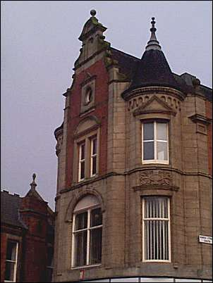 Details on the building - showing the Oriel windows.
