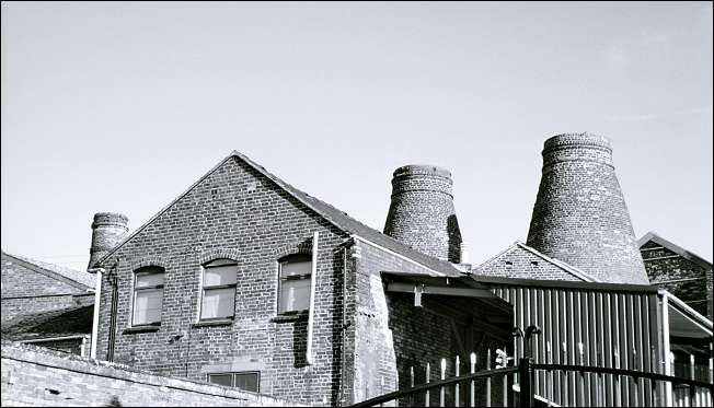 The three bottle kilns remaining at the Sutherland Works