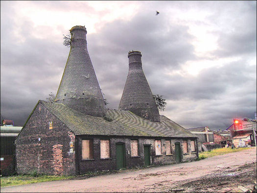 The two kilns at the Falcon Pottery works, Sturgess Street, Stoke