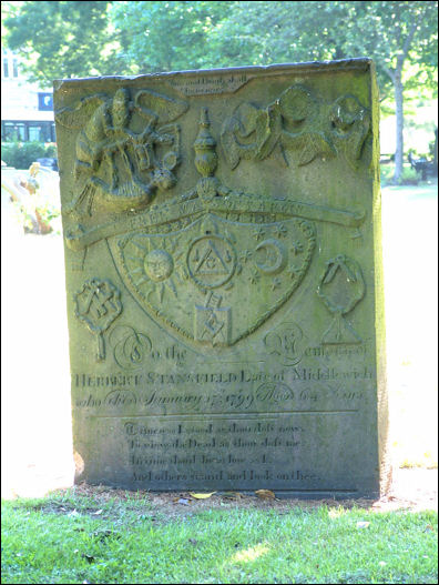 Headstone of Herbert Stansfield showing the Masonic Symbols