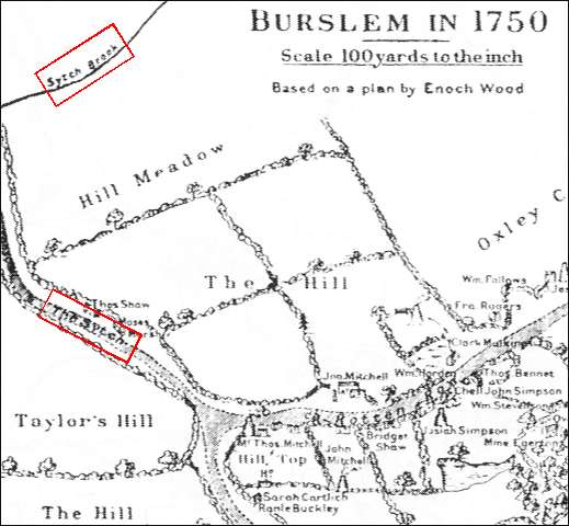 1750 map of the Sytch in Burslem - showing The Hill area