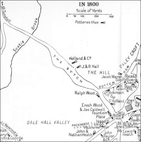 1800 map which shows the works of Ralph Wood at the location of the Hill Works