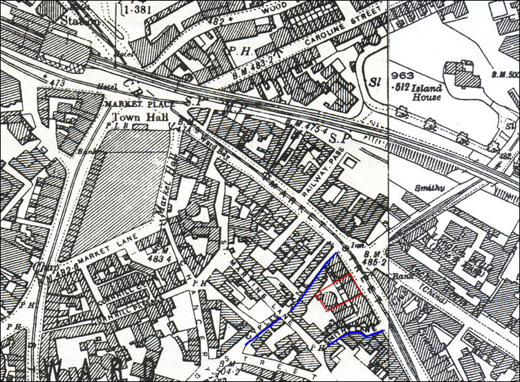 1898 map of Longton showing the location of Cyples Old Pottery on Market Street