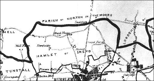 "1842 map showing the ""Hamlet of Sneyd"""