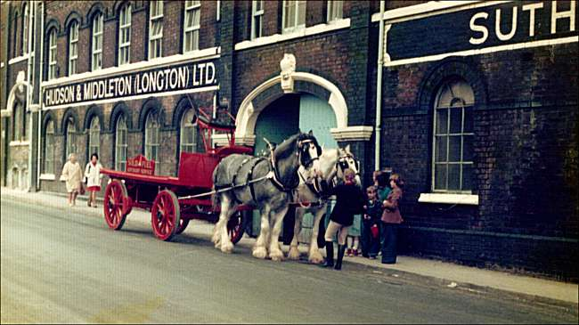 Hudson & Middleton frontage (Normacot Road) with horse and cart