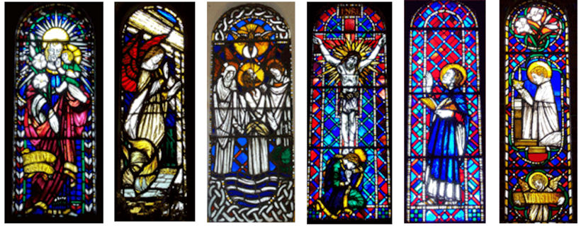 Six Of The 32 Stained Glass Windows In St Josephs