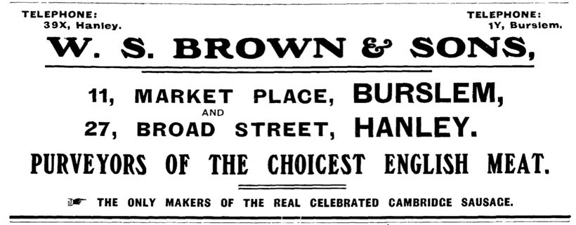 W.S. Brown - butchers, 27 Broad Street, Hanley c.1880-1990