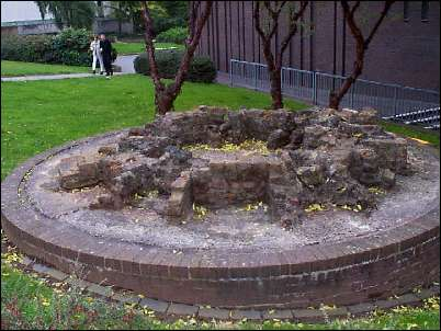 remains of the base of one of seven bottle kilns on this site