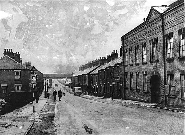 Furlong Road` (Tunstall) looking from Christ Church at the top of Tunstall High St. towards Pittshill.