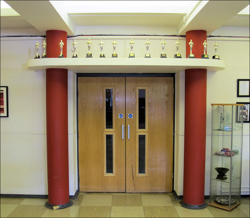 doors to the main hall - side columns and overhanging canopy frame the door & art deco features of main entrance and the hall of Thistley Hough ... pezcame.com