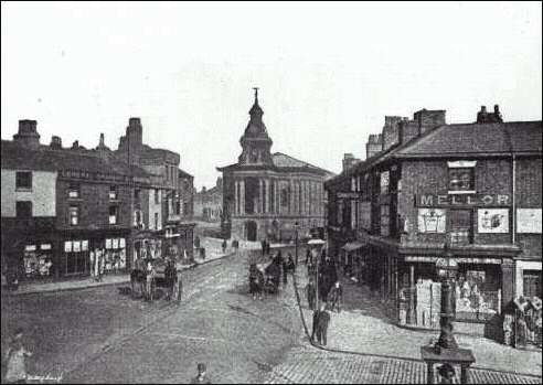 1893 picture of Market Place and the Town Hall