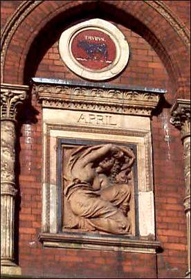 One of the terra-cotta panels from the Wedgwood Institute in Burslem - designed by Rudyard Kipling's father