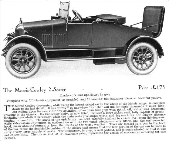Details of 1924 Morris-cowley