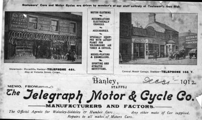 1912 Letterhead of 'The Telegraph Motor & Cycle Co.'