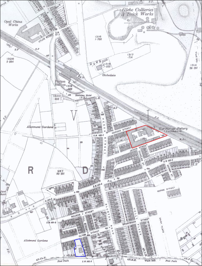 1922 map showing the Heron Pottery on the edge of the Glebe Collieries and Brick Works