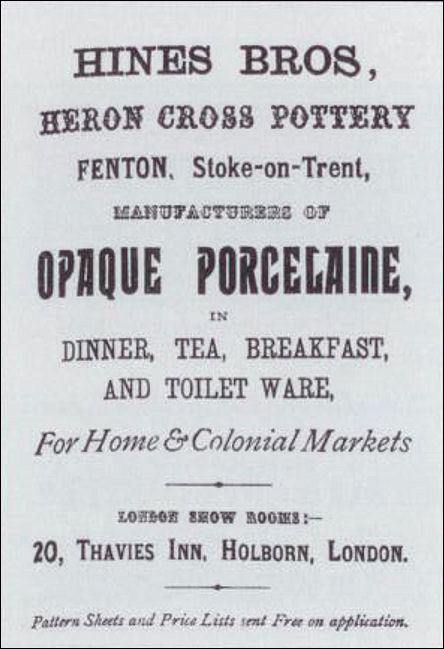 Hines Bros advert - from a 1889 Keates directory