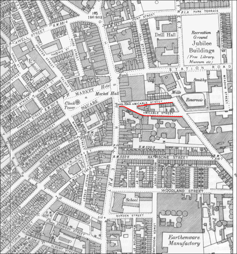 Amicable Street (now Butterfield Place) on a 1898 map