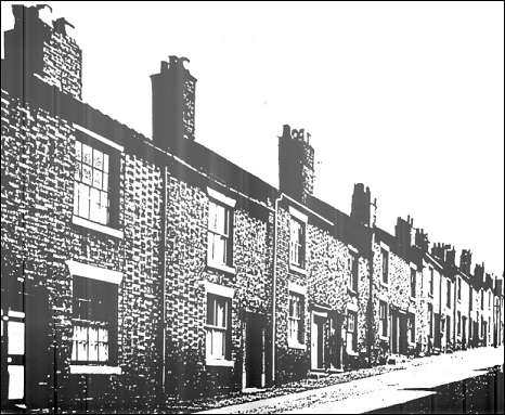 Houses in Piccadilly Street, Tunstall in about 1955