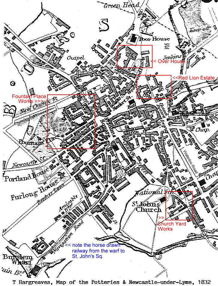 map of the Potteries and NewcastleunderLyme 1832