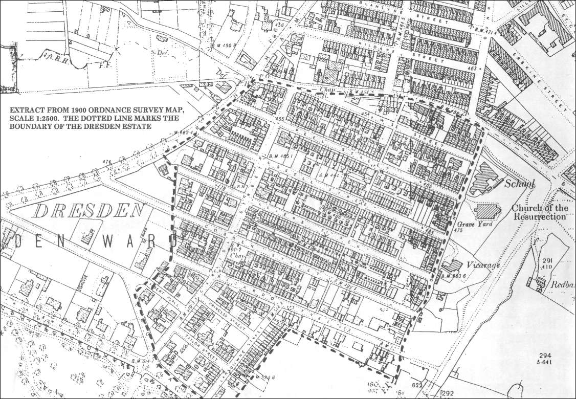 1900 OS map of Dresden, (Longton)