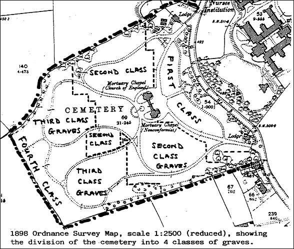 Map showing division of the cemetery into 4 classes of graves