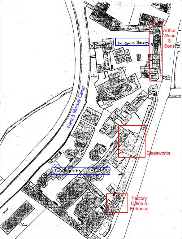 1851 Ordnance Survey Map showing the Longport Pottery