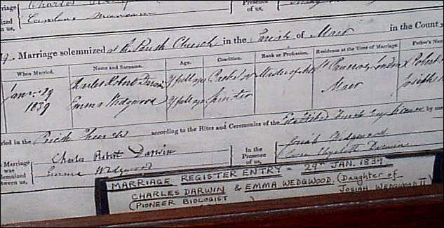Charles Darwin and Emma Wedgwood marriage certificate
