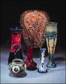 Selection of Moorcroft vases sold in 1995.