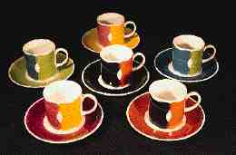 'Harlequinade', a dazzling 1968 pattern for Wedgwood. Cup and saucer £15-20.