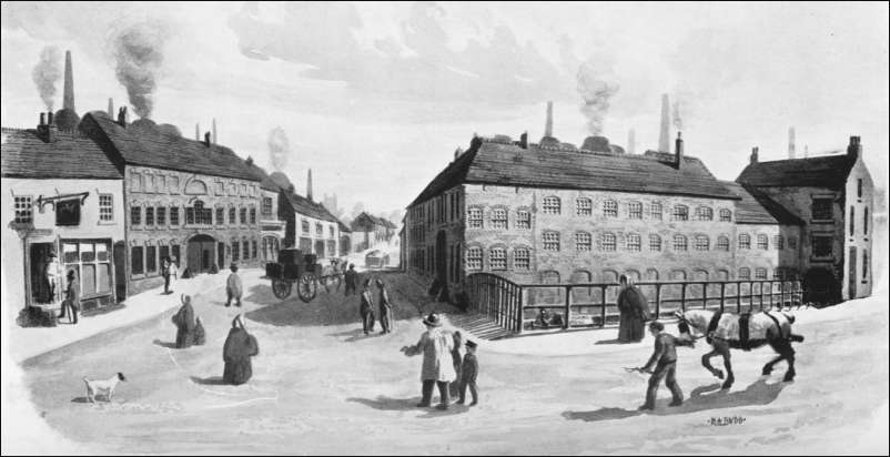 Stoke-upon-Trent c.1819 - The view is along Church Street, London Road to the right